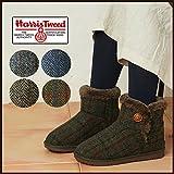 ハリスツイード harris tweed ブーツ ムートンブーツ レディース ショートブーツ ムートン ボアブーツ ショート ボタン ツイード/39104 S(22.5?23.0cm) ネイビー