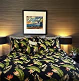 Tropical Hibiscus Black Birds of Paradise Bedding Set By Dean Miller - King Size Duvet Cover with King Shams