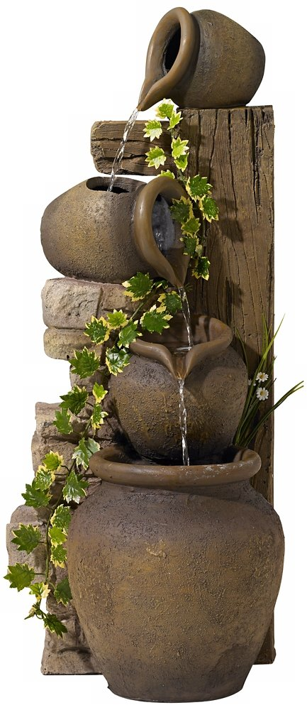 "Three Rustic Jugs Cascading 33"" High Fountain"