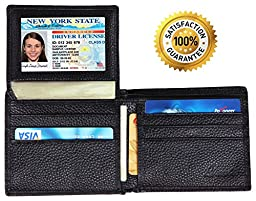 Dante RFID Blocking Leather Bifold Wallet for Men, Black