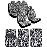 BDK White Zebra Seat Covers & Floor Mats Set Fur Print Complete - Full Set, Universal Fit