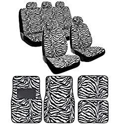See BDK White Zebra Seat Covers & Floor Mats Set Fur Print Complete - Full Set, Universal Fit Details