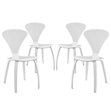 LexMod Vortex Dining Chairs (Set of 4), White