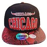 Chicago Bulls Design 2 Tone Snake Snapback Hat Baseball Cap Black Red