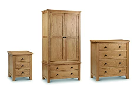 Julian Bowen Marlborough 3 Piece Bedroom Set - 3 Drawer Bedside + 4 Drawer Chest + Combination Robe - Oak Colour