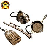 hebensi 4 Pcs Metal Keychain Including Level 3 Helmet Backpack 98K and Frying Pan Iron Key Ring Pendant (Color: 4 pcs)