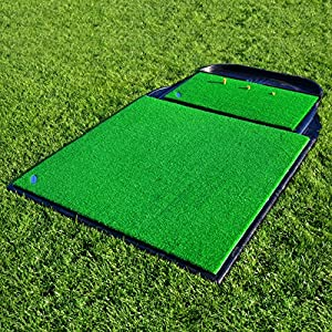 FORB Pro Driving Range Golf Practice Mat (78in x 48in) Complete Professional Golf Practice Set-Up - Golf Mats, Rubber Bases + Golf Ball Holder [Net World Sports]
