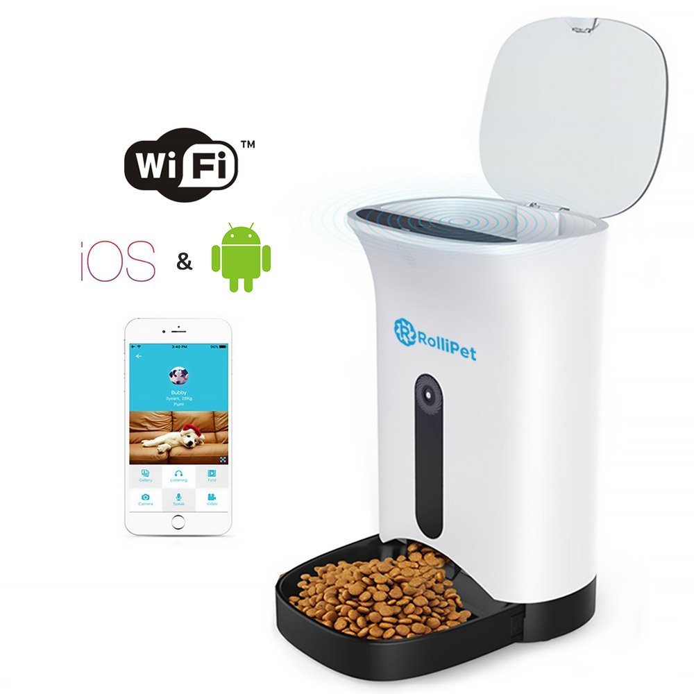Nspire Automatic Smart Pet Feeder with Wireless Camera for Dogs & Cats with Programmable Feeding Timer 2 Way Audio Controlled by Iphone iOS and Android Mobile App White