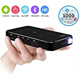 Pocket Projector, LiveTV.Direct M8T Touch Panel Android Smart Mini Portable Projector TV With Built-in Batteries and LiveTV Services (Black 32GB)
