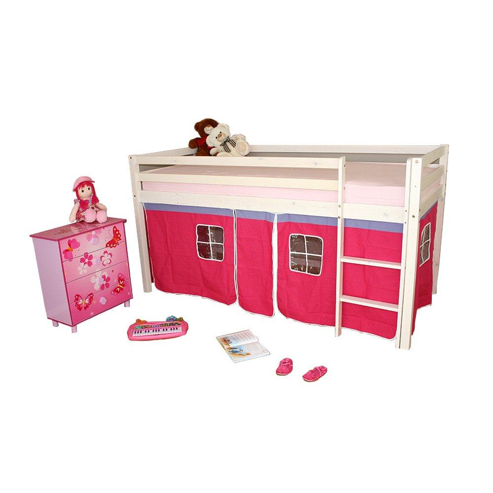 Homestyle4u Hochbett Kinderbett Spielbett Kinderhochbett weiß mit Lattenrost Vorhang bestellen