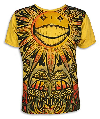 mirror-by-sure-vintage-herren-t-shirt-smiling-goa-sonne-sonnenblume-psychedelic-distressed-m
