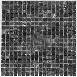Black 5/8 X 5/8 Tumbled Marble Mosaic Tile