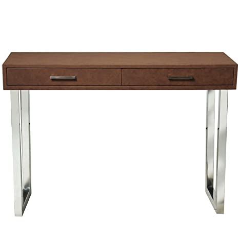 Pame 43880–Input Leatherette Table with Metal Legs, 110x 77x 35cm, Brown