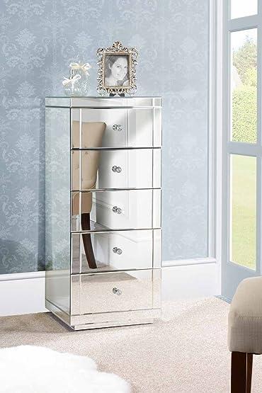 MY-Furniture JULIANNA - Serie Chelsea: Settimino / Cassettiera a specchio alta a 5 cassetti
