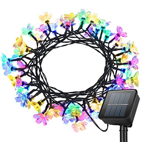 Vanksy catena di luce a led colorati con pannello solare for Luces de navidad solares para exterior