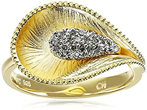 Yellow Gold Plated Sterling Silver Calla Lily Diamond Ring (1/4cttw, I-J Color, I2-I3 Clarity), Size 7