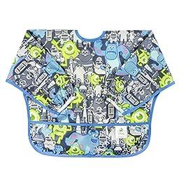 Bumkins Disney Baby Waterproof Sleeved Bib, Monsters Inc. Gray (6-24 Months)