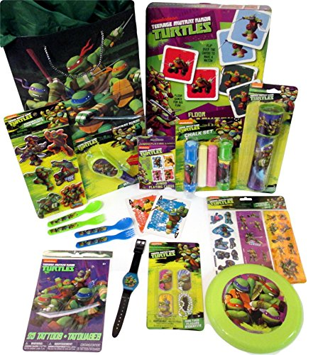 TMNT 12 Piece Birthday or Get Well Gift Tote Bag Bundle Features Teenage Mutant Ninja Turtles Toys and Games for Boys Ages 3-6