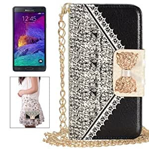 Crazy4Gadget Bowknot Wallet Style Leather Case with Chain & Card Slots for Samsung Galaxy Note 4(Black)