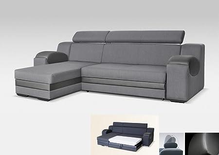 Universelle Eck-Schlafsofa, madrit–Stoff & Kunstleder grau 260cm Modern Drei Sitze grau