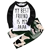 Baby Boys MY BEST FRIEND IS MY PAPA Long Sleeve Raglan T-shirt and Camo Pants Outfit (6-12M/Tag 70, White)