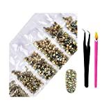 2800Pcs Nail Supplies Rhinestones - Crystal AB Nail Art 6 Mixed Sizes Round FlatBacks Rhinestones with Wax Rhinestone Pen Tweezers for Art Nails Decoration Eye Makeup Clothes Shoes(Forest Starry Sky) (Color: Forest Starry Sky, Tamaño: one size)