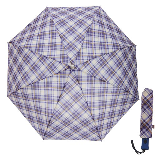 Womens/Ladies Plaid Auto Open And Compact Close Umbrella (One Size) (Lilac)