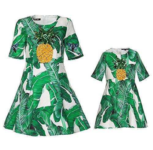 ZY Madre e figlia divertente vestito. Abito stampato con maniche corte. Abiti in cotone jacquard bambini. Inizio autunno cilindro base , green , xl