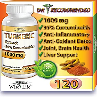 WiseLife Premium Turmeric Curcumin Longa Root Powder Extract Pills for Anti inflammatory and Stress Reliever Inflammation Diet with No Side Effects 120 Capsules 95% Curcuminoids