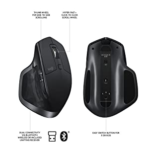 Logitech MX Master 2S Wireless Mouse with FLOW Cross-Computer Control and File Sharing for PC and Mac, Graphite (Renewed) (Color: graphite, Tamaño: MX Master 2S)