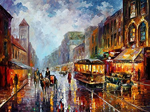 Los Angeles 1925 - Pallete Knife Original Recreation Oil Painting On Canavs By Leonid Afremov