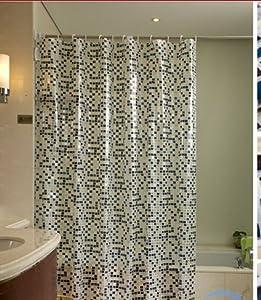 Beige Amp Black Grid Shower Curtain 72 X 80 Inch Bathroom