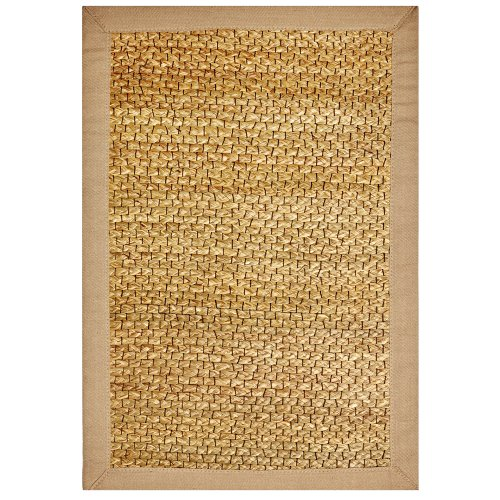 Anji Mountain Bamboo Chairmat & Rug Co. 3-Foot-by-5-Foot River Grass Rug with Khaki Cotton Border
