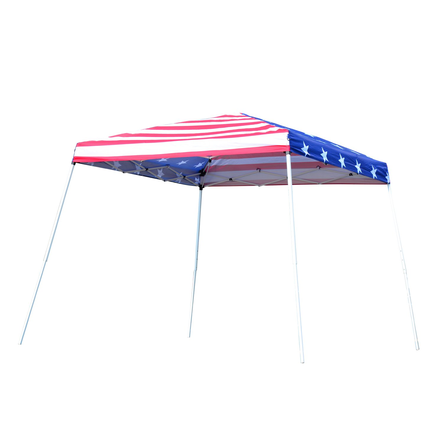 Outsunny 10' x 10' Slant Leg Pop-Up Canopy Shelter Party Tent American Flag