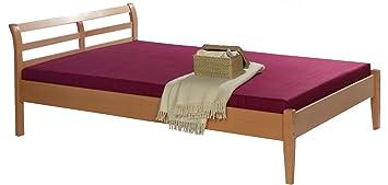 Marco de la cama de madera maciza de 120 x 200 cm de tamaño de madera de haya Alexus
