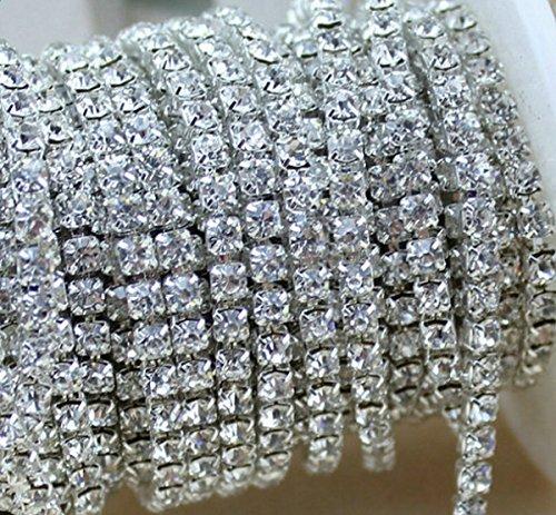 aketek-10-yard-crystal-rhinestone-close-chain-clear-trim-sewing-craft-2mm-silver-color