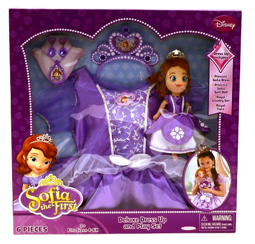 [Disney Princess Sofia the First 6 Piece Deluxe Dress up Costume & Play Set Size 4-6x] (Sofia The First Dress Up Costume)