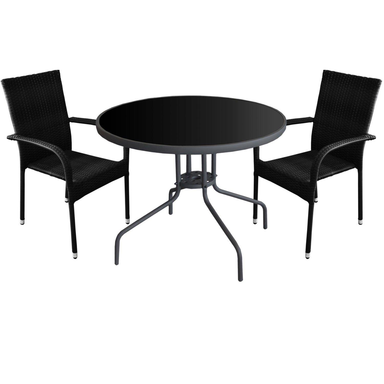 3tlg. Gartenmöbel Set Glastisch Ø90cm + 2x Polyrattan Gartenstuhl Stapelstuhl Gartengarnitur Sitzgruppe Sitzgarnitur
