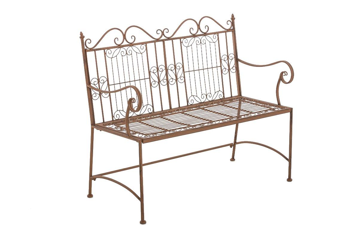 CLP Gartenbank ADELE im Landhausstil, aus lackiertem Eisen, 107 x 54 cm - aus bis zu 6 Farben wählen antik-braun