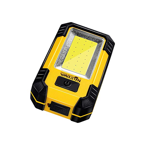 Warsun KS-08 Portable LED Rechargeable Work Light,Magnetic Base & Hanging Hook,30W 1200Lumens Super Bright,5000K,for Car Repairing, Camping,Hiking, Backpacking, Fishing, Hurricane,Emer, Yellow (Color: Yellow)