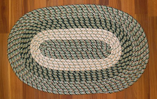GREEN BRAIDED OVAL RUG TRI-COLOR REVERSIBLE 18