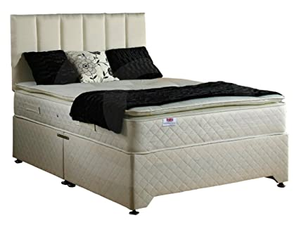 Bed Centre Pillow Top 2 Draw Divan Bed with 28cm Deep Quilted Mattress and Headboard (Super King 180x200cm)
