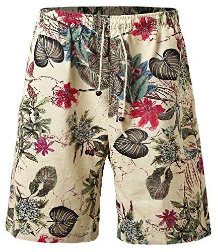 HEMOON Pantaloni Corti Uomo Leggera Mare Spiaggia Pantaloncini Beige Floreal Medium