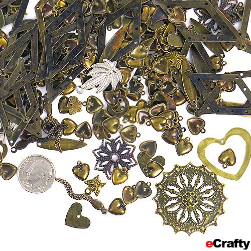 Jewelry Maker's Stamped Metal Charms & Pendants Mix F1 50 grams 100+ pieces