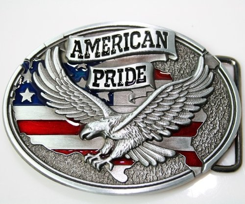 new American pride US flag soaring eagle belt buckle WT093