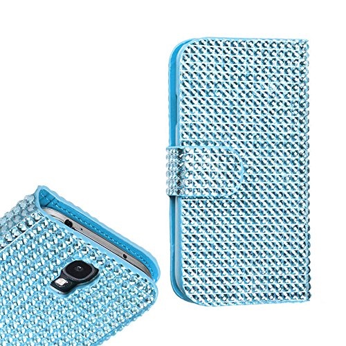 Mylife (Tm) Lapis Blue Diamond Bling {Rhinestone Design} Faux Leather (Card, Cash And Id Holder + Magnetic Closing) Slim Wallet For The All-New Htc One M8 Android Smartphone - Aka, 2Nd Gen Htc One (External Textured Synthetic Leather With Magnetic Clip +