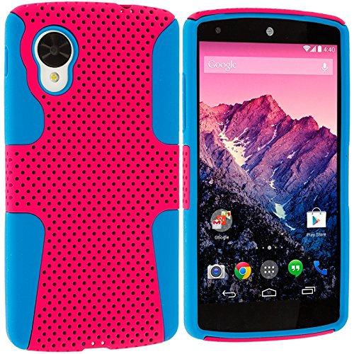 Cell Accessories For Less (Tm) Baby Blue / Hot Pink Hybrid Mesh Hard/Soft Case Cover For Lg Google Nexus 5 + Bundle (Stylus & Micro Cleaning Cloth) - By Thetargetbuys front-717042