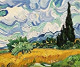 "Art Reproduction Oil Painting - Van Gogh Paintings: Wheat Field with Cypresses - Classic 20"" X 24"" - Hand Painted Canvas Art"