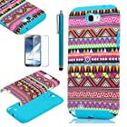 Pandamimi ULAK 2in1 Hybrid Pink Hard Aztec Tribal Pattern + Blue Silicon Case Cover For Samsung Galaxy Note 2 Note II N7100 +Screen Protector +Stylus