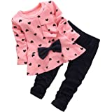 BomDeals Baby Girl Cute 2pcs Set Children Clothes Suit Top and Pants (Age(4T), Pink) (Color: Pink, Tamaño: Age(4T))